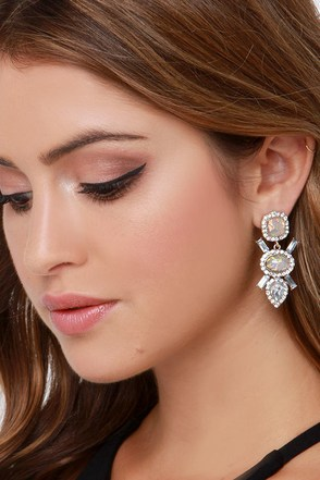 Opal-Essence of Style Grey Rhinestone Earrings at Lulus.com!