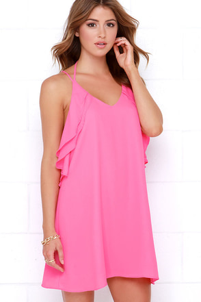 Frilled to Pieces Pink Shift Dress at Lulus.com!