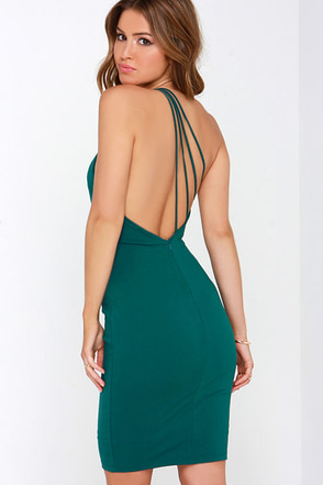 Making Me Blush One Shoulder Dark Teal Dress at Lulus.com!