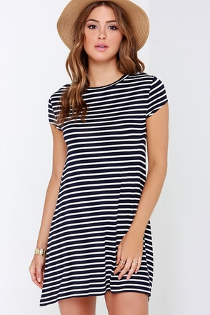 Billabong Last Minute Navy Blue Striped Dress at Lulus.com!