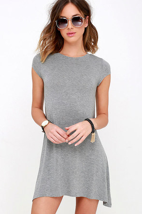 Billabong Last Minute Heather Grey Dress at Lulus.com!