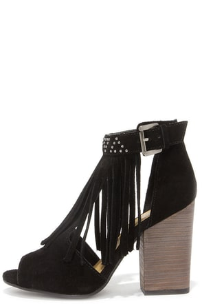 Chinese Laundry Boho Black Suede Leather Fringe Booties at Lulus.com!