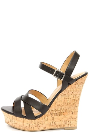 My Delicious Serum Black Peep Toe Wedge Sandals