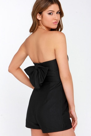 Glamorous Go Bow-dly Black Strapless Romper at Lulus.com!