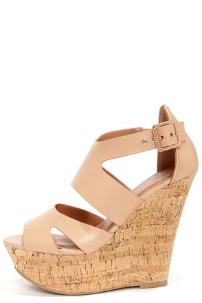 My Delicious Badge Natural Cutout Platform Wedge Sandals