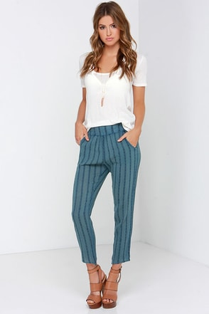 Billabong Midnight Dreamin Slate Blue Embroidered Pants at Lulus.com!
