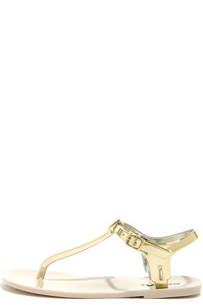 Soda Ian Gold Jelly Thong Sandals