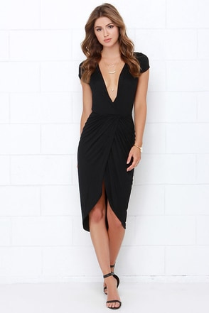 I'm Into You Black High-Low Wrap Dress at Lulus.com!
