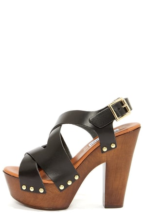 Steve Madden Liable Black Leather Platform Sandals