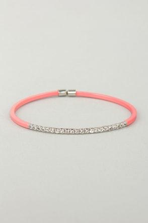 Teacher's Petite Coral Rhinestone Bracelet