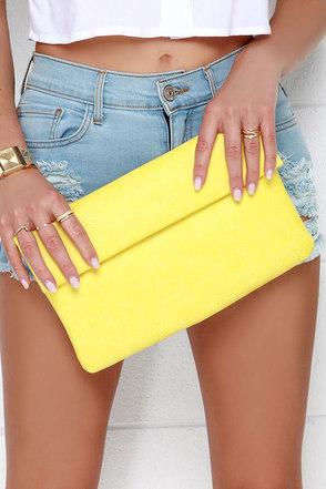 Brighten My Day Yellow Clutch at Lulus.com!