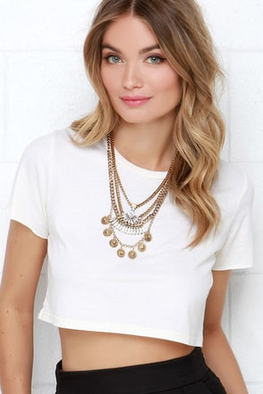 Ponyboy Ivory Crop Tee at Lulus.com!
