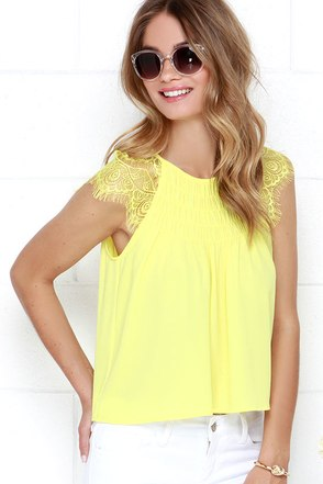 Lemon Tart Yellow Lace Babydoll Top at Lulus.com!