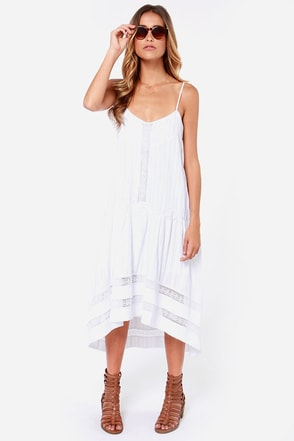 Desert Angel Crocheted White High-Low Dress