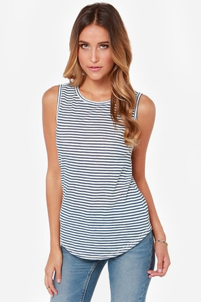 LULUS Exclusive Let's Sea Cream and Blue Striped Sleeveless Top