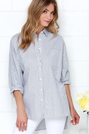 Glamorous Casually Cute Navy Blue Striped Button-Up Top at Lulus.com!