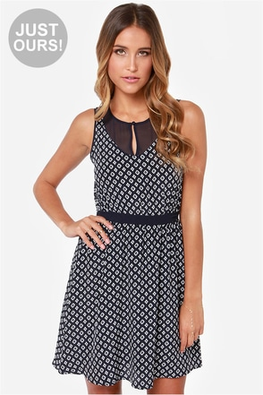 LULUS Exclusive Captivated By You Navy Blue Print Dress