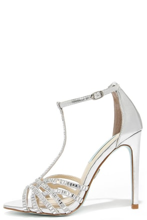 Blue by Betsey Johnson Ruby Silver Rhinestone Heels at Lulus.com!