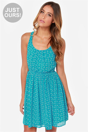 LULUS Exclusive Branch Out Blue Print Dress