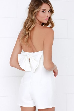 Glamorous Go Bow-dly Light Blue Strapless Romper at Lulus.com!