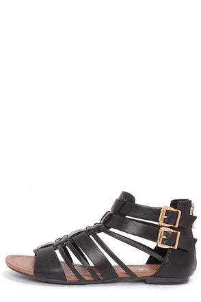 Soda Gatlin Black Gladiator Sandals