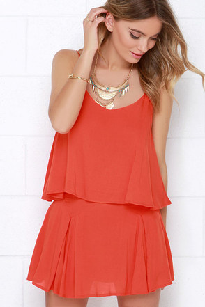 One, Two, Chic Coral Orange Lace Two-Piece Dress at Lulus.com!