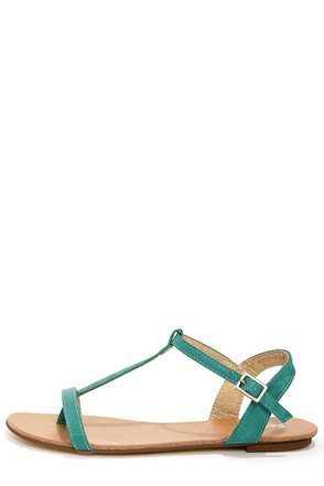 Maya 1 Sea Green T Strap Thong Sandals