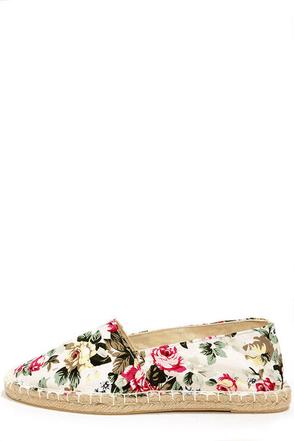 Wild Diva Lounge Tika 01A White Floral Print Espadrille Flats