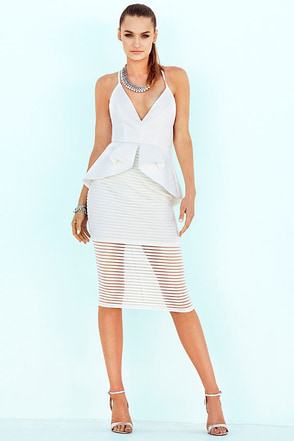 Tempting Fate Ivory Peplum Midi Dress at Lulus.com!