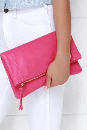 Claire Folding Fuchsia Clutch at Lulus.com!