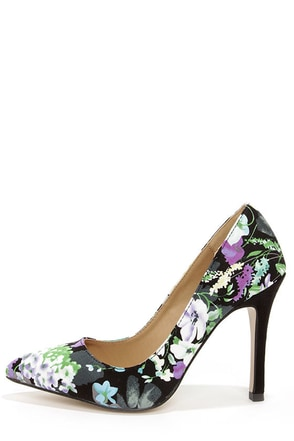 Reese Green Floral Print Pointed Pumps