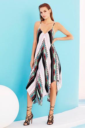 Northern Heights Black Print Midi Dress at Lulus.com!