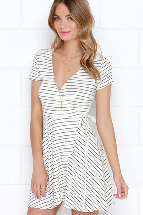 Let's Call it a Tie Cream and Black Striped Wrap Dress at Lulus.com!