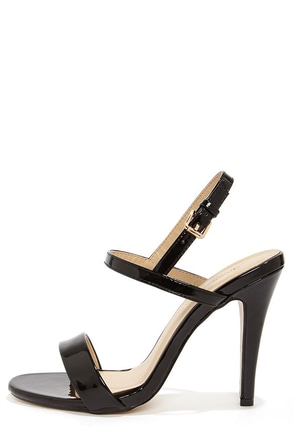 Ginger Black Patent Strappy Dress Sandals