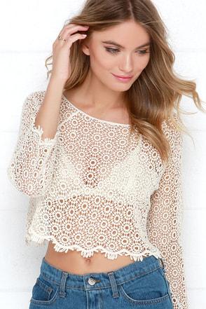Dandelion Wishes Cream Lace Top at Lulus.com!