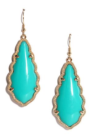 Zealous Zingara Gold and Turquoise Earrings at Lulus.com!