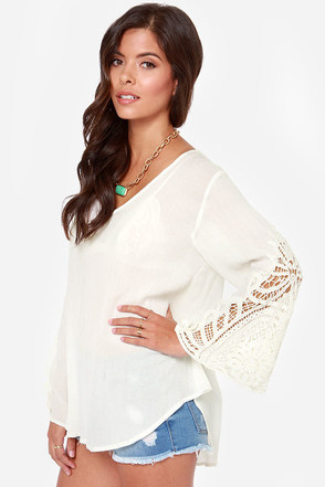 Crochet Double Play Ivory Top