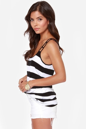 Volcom Get Low Black and White Striped Tank Top