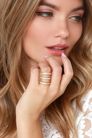 Stack Up Gold Rhinestone Ring at Lulus.com!