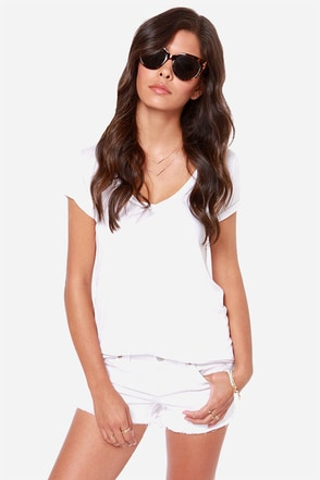 Dittos Misty Distressed White Cutoff Jean Shorts