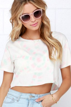 Billabong No Bad Waves Pink and Ivory Tie-Dye Crop Tee at Lulus.com!