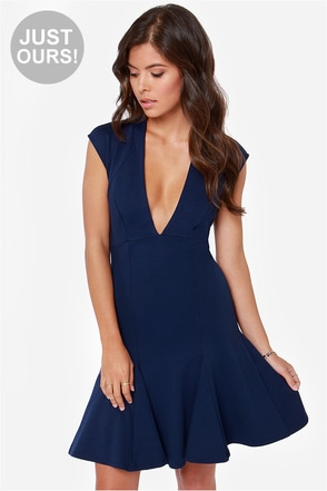 LULUS Exclusive Fine By Me Navy Blue Dress