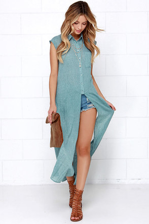 Cliff Hanger Sage Green Button-Up Maxi Top at Lulus.com!