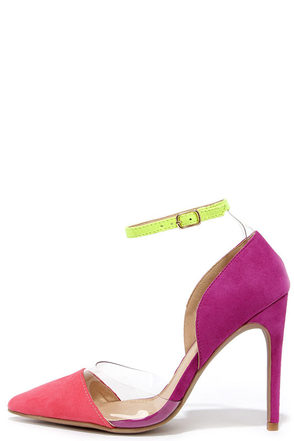 Clearly Chic Pink and Purple Suede Lucite Heels at Lulus.com!