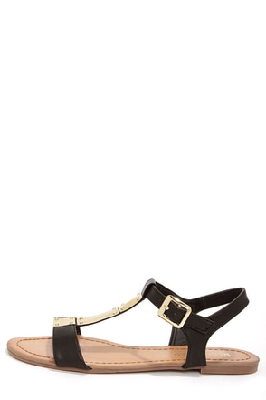 Restricted Text Black and Gold T Strap Sandals