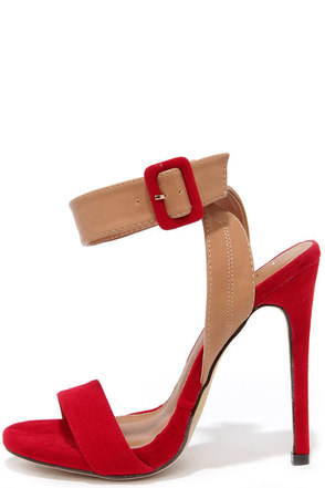 Things to Duo Red and Beige Heels at Lulus.com!