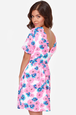 I. Madeline You Grow, Girl Neon Pink Floral Print Dress at Lulus.com!