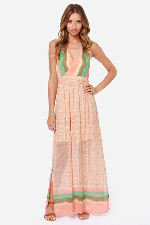 Ice Cream Dream Light Coral Print Maxi Dress