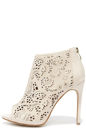 Filigree and Me Nude Laser-Cut Booties at Lulus.com!