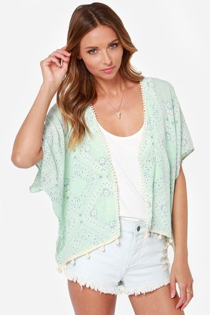 Lucy Love Mississippi Mint Green Print Top